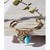 bliss Women's Bracelets Gold - Simulated Turquoise & Two-Tone 'Faith' Charm Cuff