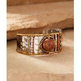Anju Women's Bracelets Stainless - Unakite & Tri-Tone Janya Cuff