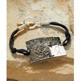 Anju Women's Bracelets - Pewter & Black Textured-Rectangle Bracelet