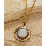 Anju Women's Necklaces - Malachite & Two-Tone Double-Circle Pendant Necklace