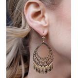 Peermont Women's Earrings Gold - 18k Gold-Plated Filigree Fringe Chandelier Earrings