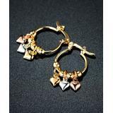 Sevil Designs Women's Earrings Gold - Tri-Tone Heart-Accent Drop Earrings