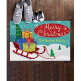 Personalized Planet Door Mats - Christmas Sled Personalized Doormat