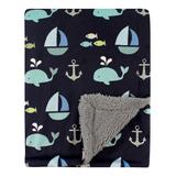 Luvable Friends Boys' Receiving and Stroller Blankets Ocean - Black & Blue Ocean Sherpa-Lined Minky Blanket