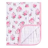 Luvable Friends Girls' Receiving and Stroller Blankets Floral - Pink Floral Muslin Tranquility Blanket