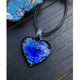 BeSheek Women's Necklaces Royal - Dark Blue & Black Leather Floral Heart Pendant Necklace