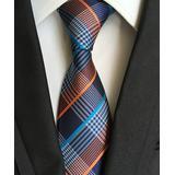 Blanc Men's Neckties / - Blue & Orange Cross Stripe Handmade Silk Tie