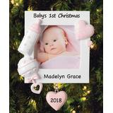 Personalized Planet Women's Ornaments - Pink 'Baby's 1st Christmas' Personalized Frame Ornament