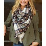 Funky Monkey Women's Cold Weather Scarves Browns/Greens - Brown & Green Plaid Blanket Scarf - Women