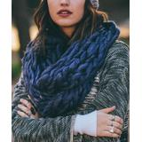 Leto Collection Women's Cold Weather Scarves 13 - Heather Purple & Gray Braided-Knit Infinity Scarf - Women
