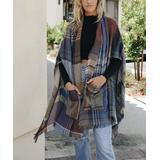 Leto Collection Women's Shawls Camel - Camel Plaid Ruana - Women