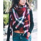 Leto Collection Women's Cold Weather Scarves Red - Red & White Classic Plaid Blanket Scarf - Women