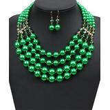 Ella & Elly Women's Earrings Green - Green Imitation Pearl Beaded Four-Strand Necklace & Drop Earrings