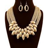 Ella & Elly Women's Earrings Goldtone - Goldtone Teardrop Statement Necklace & Drop Earrings