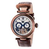 Heritor Automatic Men's Watches Bronze/Silver - Bronze-Tone & Blue Ganzi Semi-Skeleton Leather-Strap Watch
