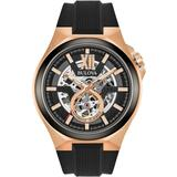 Men's Automatic Black Silicone Strap Watch 46mm 98a177 - Black - Bulova Watches