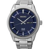 Men's Solar Stainless Steel Bracelet Watch 43mm Sne361 - Gray - Seiko Watches