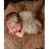 The Tiny Blessings Boutique Girls' Wings Tan - Tan Angel Wings & Flower Tie-Back Headband