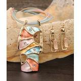 BeSheek Women's Earrings Gold - Goldtone Abstract Pendant Necklace & Drop Earrings