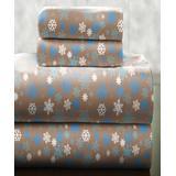 Pointehaven Bedding Sheet Sets Snow - Brown Snowflakes Cotton Flannel Deep-Pocket Sheet Set