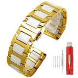 Elegant Gold Watch Strap Watches Metal Band White Ceramic Watch Band Stainless Steel Two Tone Watch Wrist Bands Womens Butterfly Clasp 14mm Watch Belt