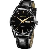 Mens Wrist Watches with Date and Day,Black Leather Watch for Men,Fashion Waterproof Men Watch,Leather Wrist Steel Men Watch,Male Watch With Date,Luminous Watch,Dress Black Men Watch,Casual Watches Men