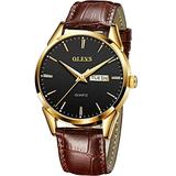 Date Day Watch Men,Leather Band Watches for Men,Black Dial Men Wrist Watch,Mens Watch Brown,Casual Men Watches,Dress Watches for Men,Black Steel Leather Men Watch,Luminous Watch, Waterproof Man Watch