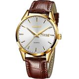Men Brown Leather Watch,Leather Gold Watch Men,Men Wrist Watches with Date,Classic Casual Watches for Men,Gold Waterproof Watches for Men,Male Watch,White Men Leather Watch,Luminous Leather Watch