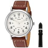 Timex Men's TWG019100 Weekender 40mm Brown/Cream Two-Piece Leather Strap Watch Gift Set + Black Leather Strap