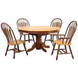 Sunset Trading Oak Selections Dining Table Set, Large/Two Sizes, Medium Walnut Light Finish top and Seats