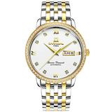 Men's Automatic Watch Gold Stainless Steel Case Band Date Week Waterproof White Dial Watches (Gold and Silver/White dial)