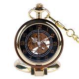 Men's Pocket Watch, Classic Steampunk Bronze Stainless Steel Mens Woman Mechanical Pocket Watch, Gift for Men - JLYSHOP