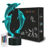 Night Light for Kids Ocean Dolphin 3D Night Light Porpoise Bedside Lamp with Remote Control 16 Color Changing Xmas Halloween Birthday Gift for Child Baby Girl