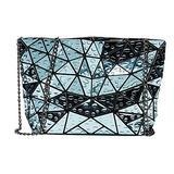 Sun Kea Geometric Bag Women Cross-Body Bag PU Shoulder Bag Chain Bag Laser Clutch Purse Bags (Lake Blue)