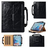 Uliking Folio Case for Apple iPad Mini 4/Mini 3/Mini 2/Mini 1 Handbag Case, Smart Multi-Angle Stand PU Leather Document Pocket Magnetic Cover with Handle Hand Strap [Auto Wake/Sleep] + Stylus, Black