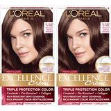 L'Oreal Paris Excellence Creme Permanent Hair Color, 5AR Medium Maple Brown, 100 percent Gray Coverage Hair Dye, Pack of 2
