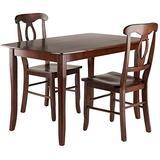 Winsome Wood Inglewood 3-PC Set Table w/ 2 Key Hole Back Chairs Dining, Walnut