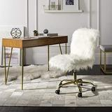 Safavieh Home Whitney White Faux Sheepskin and Gold Leg Swivel Office Chair