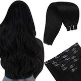 YoungSee Clip in Hair Extensions, Remy Clip in Hair Extensions Natural Hair Extensions Human Hair Double Weft Hair Extensions Clip in Human Hair Jet Black Hair Extensions 12in 70g 7pcs