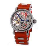 Rougois Mechanique Silver tone Skeleton watch orange rubber strap stainless i.
