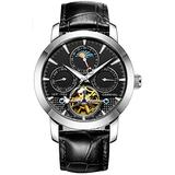 Men's Automatic Watch Tourbillon Silver Stainless Steel Case Band Date Week Function Watches (Silver/Black dial/Leather dial)