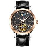 Men's Automatic Watch Tourbillon Rose Gold Stainless Steel Case Band Date Week Function Watches (Rose Gold/Black dial/Leather Band)
