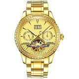 Men's Tourbillon Automatic Watch Sapphire Full Gold Stainless Steel Waterproof Luminous Gold Dial Watches (Gold)