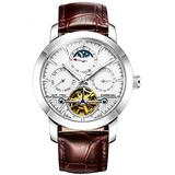 Men's Automatic Watch Tourbillon Silver Stainless Steel Case Band Date Week Function Watches (Silver/White dial/Leather Band)