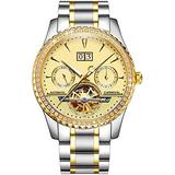 Men's Tourbillon Automatic Watch Sapphire Silver Stainless Steel Waterproof Luminous Gold Dial Watches (Silver Gold/Gold)