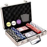 DA VINCI 200 Dice Striped 11.5 Gram Poker Chip Set with Aluminum Case, Dealer Button, 2 Decks of Cards