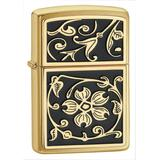 Zippo Floral Brushed Brass Pocket Lighter