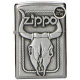 Zippo Lighter Bull Skull Emblem, Street Chrome
