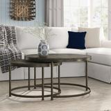 Trent Austin Design® Bruner 2 Coffee Table Sets Wood/Metal in Black/Brown/Gray, Size 20.0 H x 36.0 W x 36.0 D in   Wayfair