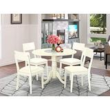 DLAD5-WHI-LC 5 PC Dublin kitchen table set-Dining table and 4 Faux Leather Kitchen chairs